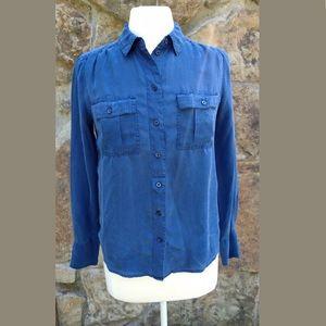 J Crew Women's Silk Blouse XS Blue Button Up